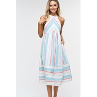 Summer Striped Cotton Midi Dress - Aqua