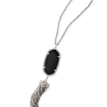 Kendra Scott Rayne Black Opaque Glass Silver Necklace with Tassel