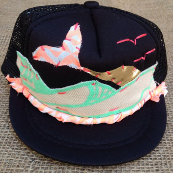 Surf  Mermaid Sunset Trucker Hat by ROUPOLI