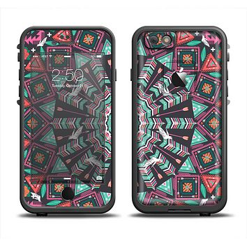 The Mirrored Coral and Colored Vector Aztec Pattern Apple iPhone 6 LifeProof Fre Case Skin Set