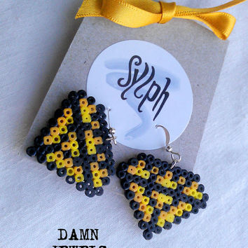 Earrings made of Hama Mini Beads - Damn Jewels (yellow)