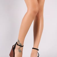 Bamboo Suede Ankle Strap Faux Wooden Platform Wedge