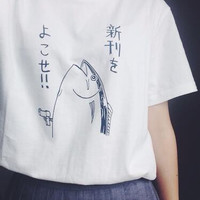New summer fashion  fish Basic Short Sleeve fun wild Japanese style pattern o-neck white t-shirt women