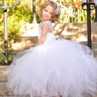 Kid's Girl's White Princess Flower Girl's Strap Bridesmaid Party wedding veil Mesh Dress for 1-12 Years Old Girl