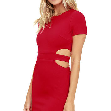 Feeling the Heat Red Cutout Bodycon Dress