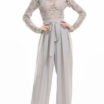 Broken Promises Grey Sheer Lace Long Sleeve Mock Neck Tie Belt Straight Leg Jumpsuit