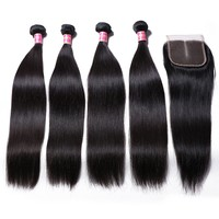 Wondess Brazilian Straight Hair 4 Bundles with Closure