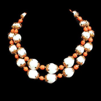 Vintage Double Strand Necklace Layered Necklace Deauville Necklace Beaded Necklace Coral and White Bead Necklace
