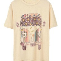 Beige Loose Fit T-shirt with Cartoon Car Print