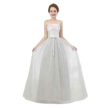 Silver Tulle Evening Dress Sexy Strapless Bow Long Prom Gown Custom Lace Up Evening Dress