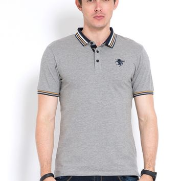 Embroidered and lapel ball cotton micro - play polo shirts, European and American fashion men's wear 86015.