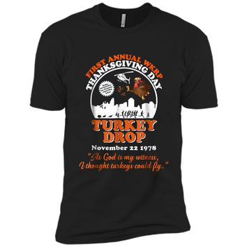 First annual WKRP Turkey Drop with Les-Nessman Funny  Next Level Premium Short Sleeve Tee