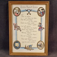 Vintage Framed Motto Print - Home Sweet Home - Cute Graphics and Poem