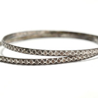 Matched Pair Sterling Silver Thin Bangles