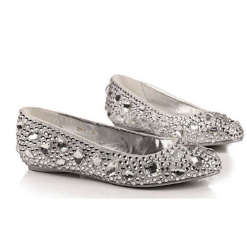 Comfortable flats silver crystal shoes for wedding or daily use