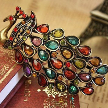 Minorder is $10 (mix order)Free Shipping Bohemia Beautiful Matchless Original vintage Peacock Crystal Necklace Spread Wings N570