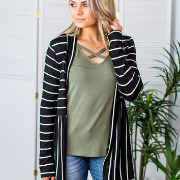 Discover Your Love Cardigan-Black/White