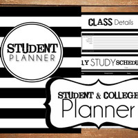 Instant Download - Student - College Planner B&W Stripe Printable Planner Organizer  - (Organized Family Binder)