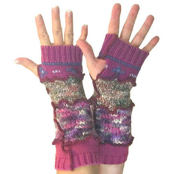 Burgundy Arm Warmers, Upcycled Clothing, Fingerless Gloves, Upcycled Arm Warmers, OOAK Arm Warmers,  Handmade Arm Warmers, Gift for Her