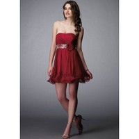 Empire Strapless Mini-Length Chiffon Prom Dress SEM0288