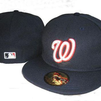 LMF8KY Washington Nationals New Era MLB Authentic Collection 59FIFTY Hat Balck