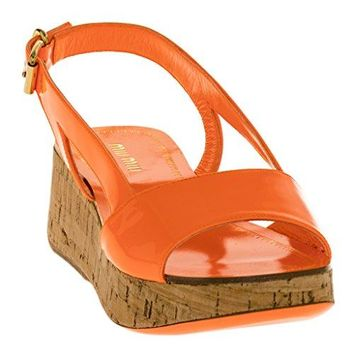Miu Miu Patent Leather Cork Wedge Sandals