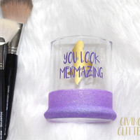 You Look Mermazing // Glitter Dipped Makeup Brush Holder