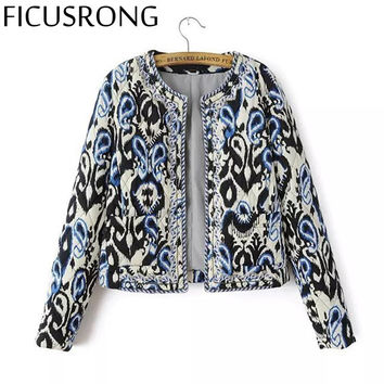 FICUSRONG Outerwear & Coats Autumn Winter Color Print New Women Round Neck Beaded Embroidery Cotton Women's Short Cotton Jacket