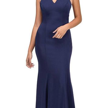 Navy Blue Mermaid Prom Gown with Beaded Choker-Collar