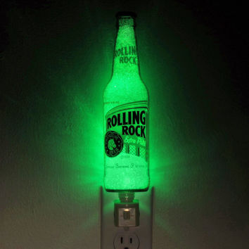 "Rolling Rock Beer 12oz Night Light  Accent Lamp- VIDEO DEMO-  Eco LED...""Diamond Like"" Glass Crystal Coating on interior"