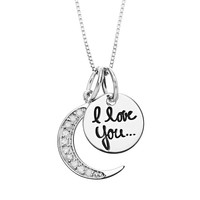 Timeless Sterling Silver 1/10 Carat T.W. Diamond ''I Love You to the Moon'' Pendant Necklace (White)