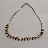 Brown and Champagne Colored Rhinestone 14 1/2 inch Necklace
