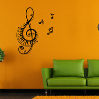 Wall Decor Vinyl Sticker Room Decal Tattoo Music Note Made Piano Instrument Design 1323