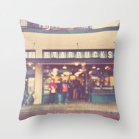 A Star is Born. Seattle Starbucks photograph Throw Pillow by Myan Soffia