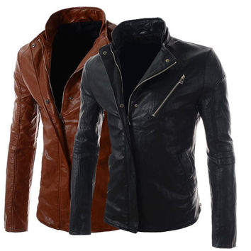 Biker Zip Slim Fit Design Men's Fashion Leather Jacket