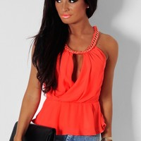 Divinty Coral Chain Detail Wrap Peplum Top | Pink Boutique