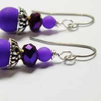 Matte Purple UV Earrings, Purple Czech Beaded Earrings, Surgical Steel Earrings, Ornate Earrings
