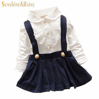 New 2015 Spring Cute Turn Down Collar Lace T Shirt Faux 2pcs Pleated Toddler Baby Dress Vestidos Infantis Newborn Girls Clothes