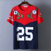GUCCI Diamond flower 25 letters print T-Shirt Top Tee H-A-KSFZ