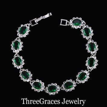 Elegant 925 Sterling Silver Cubic Zirconia Simulated Diamond Jewelry Dark Green Big Flower Charm Bracelets For Women BR054