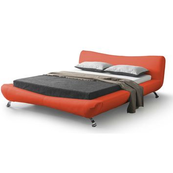 King size Red Faux Leather Platform Bed with Modern Upholstered Headboard