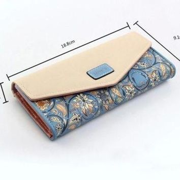 ONETOW New Women Leather Wallet Floral Purse Card Mobile Bag long Zip Handbag hot [519898955791]