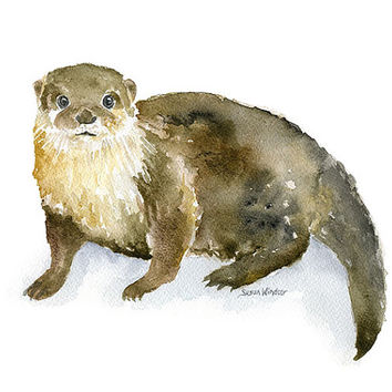 River Otter Watercolor Painting - 11 x 14 - Giclee Print Reproduction - Woodland Animal Nursery Art Nursery Decor
