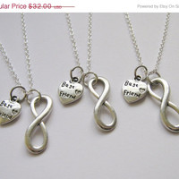 Summer Sale Save15% 3 Infinity Heart Best Friend Necklaces BFF