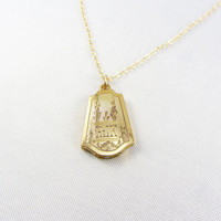 Vintage Art Deco Gold Filled Locket Necklace Photo Locket Pendant Engraved Design Jewelry Monogrammed Initials HJK