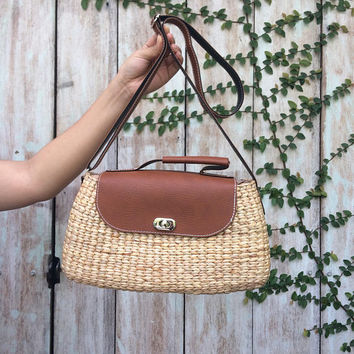 Brown Straw Bag / straw tote / Basket Bags / Straw Hand bag / Boho Beach Bags / straw purse