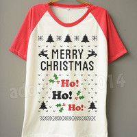 Funny Shirt HO HO HO Merry Christmas T-Shirt Funny Christmas Shirt Short Sleeve Tee Short Baseball Shirt Unisex Shirt Women Shirt Men Shirt