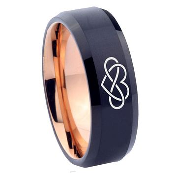 8mm Infinity Love Bevel Tungsten Carbide Rose Gold Promise Rings