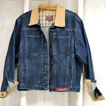 90s denim jacket / Mens M / Womens L / Trucker Jacket / Authentic Rockies / dark wash