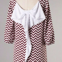Maroon and White Chevron Bow Back Tunic Dress